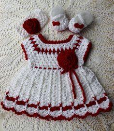 Crochet Baby Dress - Crochet Headband - Crochet Booties Shoes - 3 pc. Set - Red White - Valentines - Infant Dress Shoes Headband -