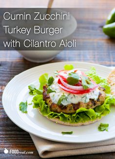 Cumin Zucchini Turkey Burger with Cilantro Aioli. 206 calories per serving burger on a thin multigrain bun & 2 tbsp aioli) Paleo Recipes, Real Food Recipes, Chicken Recipes, Cooking Recipes, Real Foods, Yummy Food, Potluck Recipes, Family Recipes, Food Tips