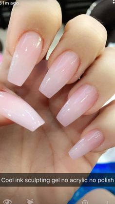 Coffin Acrylic Nails Clear Pink - Nail and Manicure Trends #acrylicnails #nails #nailart Pink Clear Nails, Pink Gel Nails, Black Nails, Pastel Nails, Glitter Nails, Pink Powder Nails, Coffen Nails, Soft Pink Nails, Light Pink Nails