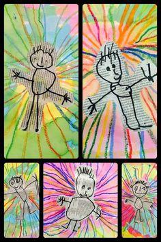 Newspaper Art For Kids Classroom 62 Best Ideas Kindergarten Art, Preschool Art, Kindergarten Self Portraits, Journal D'art, Arte Elemental, Classe D'art, Art For Kids, Crafts For Kids, Newspaper Art