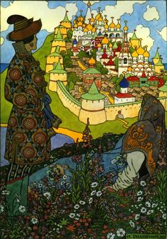 Ivan Bilibin (1876-1942) Russian artist  illustrator // I wish they'd said which story this illustrates.
