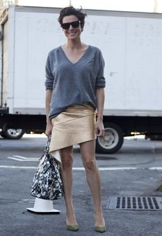 love that skirt/knit combo. #GaranceDore in  NYC.