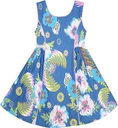Design denim sleeveless girls dress with colorful flower detailing, suitable for both party and everyday dress. Cotton Frocks For Girls, Kids Frocks, Wedding Dresses For Girls, Dresses Kids Girl, Girl Outfits, Baby Girl Dress Design, Girls Frock Design, Kids Dress Wear, Baby Girl Dress Patterns