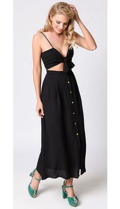 Retro Style Black Button Up Self Tie Crepe Maxi Dress