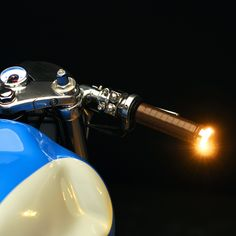 The Motogadget m-Blaze Disc Bar End Turn signals as installed on Revival's W650.