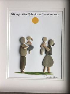 Family pebble art Family pebble art The post Family pebble art appeared first on Best Pins. Stone Crafts, Rock Crafts, Arts And Crafts, Stone Painting, House Painting, Rock Family, Pebble Art Family, Rock Sculpture, Ribbon Sculpture