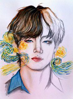 Koi Fish Drawing, Fish Drawings, Kpop Drawings, Art Drawings, Taehyung Fanart, V Bts Wallpaper, Color Pencil Art, Kpop Fanart, Fantasy Artwork