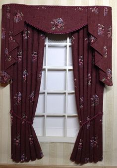12th scale CURTAINS for your dolls house Wine floral cotton with matching braid      They measures approx 5 inches wide and 7.5 inches drop but can be