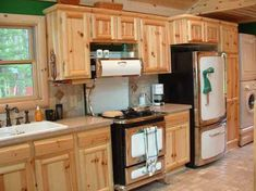 Knotty Pine Kitchen Cabinets Ideas Home Furniture Kitchen Stylish Design Knotty Pine Cabinets, Knotty Pine Kitchen, Unfinished Kitchen Cabinets, Hickory Kitchen Cabinets, Kitchen Cabinets For Sale, Kitchen Cabinet Styles, Kitchen Pantry, Wood Cabinets, Kitchen Doors