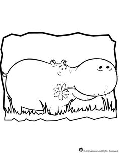 Learning Friends Hippo coloring printable Applique Pinterest