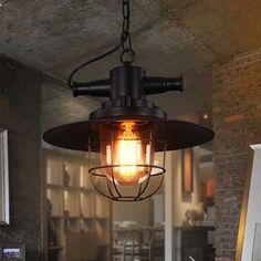(139.84$)  Buy here  - Loft Indoor Lighting American Style Retro Industrial Metal Shade Light Bar Single Head Black Pendant Light
