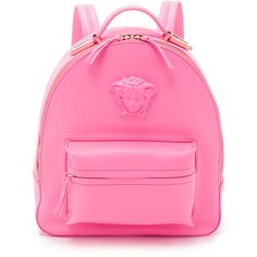 Versace Leather Backpack ($2,005) ❤ liked on Polyvore featuring bags, backpacks, pink, leather knapsack, day pack backpack, leather daypack, leather backpack and versace