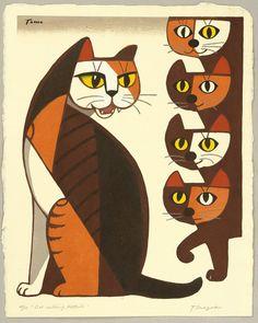 Cat Calling Kittens: Inagaki Tomoo, ca. 1970′s.
