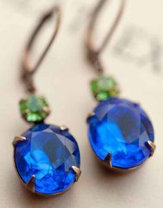 Deep Sapphire Earrings Estate Style Vintage by NotOneSparrow Bridesmaid Earrings, Wedding Earrings, Bridesmaid Gifts, Wedding Jewelry, Red Earrings, Sapphire Earrings, Button Earrings, Etsy Earrings, Swarovski Crystal Earrings