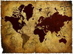 Old Manuscript of World Map - Tapetit / tapetti - Photowall