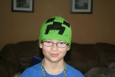 Crocheted Minecraft creeper hat