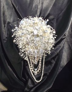 large size pearl and brooch wedding bouquet by UptownGirlzz