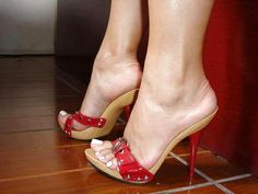 Red wooden mules