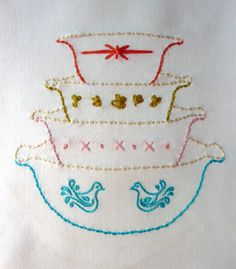 Vintage Bowls Embroidery Pattern. Vignette Series. by thestoryofkat on Etsy