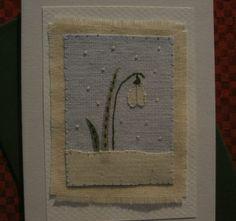 Handstitched card designed/made by Helen Drewett LITTLE SNOWDROP