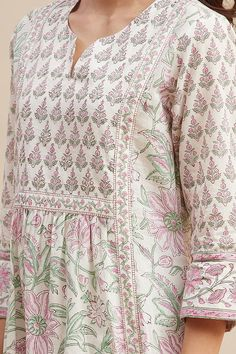 Designer Wear: Shop Designer Ethnic Wear by Farida Gupta Kurta Designs Women, Kurti Neck Designs, Dress Neck Designs, Blouse Designs, Latest Bridal Dresses, Kurta Patterns, Dress Patterns, Floral Print Sarees, A Line Kurti
