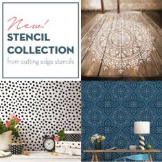 Cutting Edge Stencils releases a NEW stencil collection including Mandalas, tile patterns, and dalmatian spots. Painted Wooden Floors, Wooden Wall Art, Wooden Walls, Wood Art, Mandala Stencils, Stencil Patterns, Stencil Designs, Tile Patterns, Large Wall Stencil