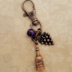 Perfect vineyard purse charm for the wine lover in your life! Bag Charm, Wine Bottle,Key Charm