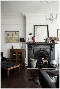 black fireplace mantle