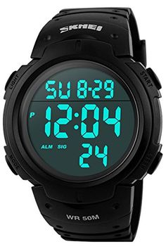 6631d4cd2c1c Amazon.com  Findtime Military Mens Sports Chronograph Casual Black  Waterproof Digital Watches  Watches
