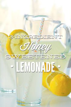 A healthy homemade honey sweetened lemonade the whole family loves! This lemonade is made with only 3 real food ingredients!