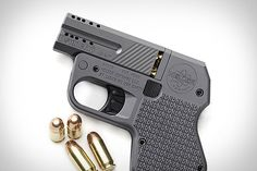 """DoubleTap Tactical Pocket Pistol ($500-$800). Available in aluminum or titanium, and with or without a ported design, this double-barreled firearm measures just 5.5"""" x 3.9"""" x 0.665"""", and features a spot for spare rounds in the grip, a hammerless, no snag design, and your choice of .45 or 9mm compatibility."""