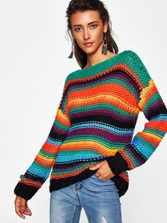 To find out about the Block Striped Boat Neck Chunky Sweater at SHEIN, part of our latest Sweaters ready to shop online today! Black Crochet Dress, Crochet Cardigan, Crochet Shirt, Crochet Sweaters, Crochet Hook Set, Knit Crochet, Casual Sweaters, Sweaters For Women, Women's Sweaters