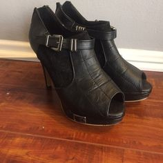 Open toe booties Pleather open toe booties. Sliding metal details at ankle. Zip in back. Fits like a size 6 Shoes Ankle Boots & Booties