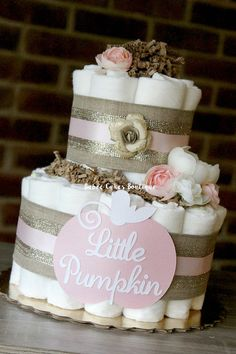 2 Tier Pink Little Pumpkin Diaper Cake Fall Baby Shower