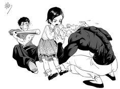 This is cute~ Metal Bat, Zenko, and Garou from One Punch Man.