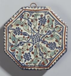 Name:  Tile  Place of creation: Iran  Date: Second half of the 13th century  Material: faience  Technique:  painted with enamels  Dimension:  diam. 10,3 cm