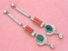 ART DECO 1.80ctw DIAMOND CORAL 2.3ctw EMERALD LONG STUD DANGLE COCKTAIL EARRINGS #Unbranded #StudDropDangleLongCocktailEarrings