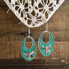 80s Earrings, Dangle Earrings, Crochet Earrings, Pendant Necklace, Sea Foam, Vintage Green, Flower Designs, Vintage Ladies, Dangles