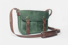 Leather Messenger Bag - Green Leather Bag - Shoulder Bag - Vintage leather bag - Ipad bag by bloombonce on Etsy