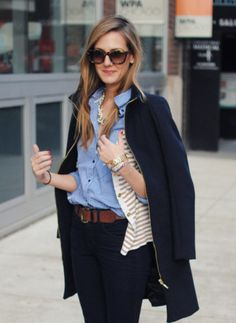 great preppy look, different tones of blue