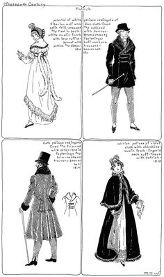 """Regency Fashion (1810-1814) [from """"The Mode in Furs: A Historical Survey with 680 Illustrations by R. Turner Wilcox, 1951]."""