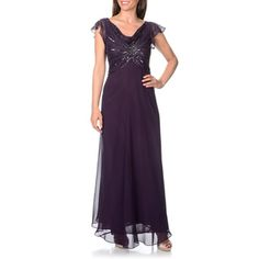 J Laxmi Women's Beaded Sequined Cowl Neck Flutter Sleeve Evening Gown | Overstock™ Shopping - Top Rated J Laxmi Evening & Formal Dresses