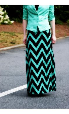 Mint and black combo, chevron, and maxi skirt.