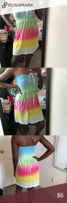 """Shoreline Strapless Sundress This is a very pretty and vibrant dress. Strapless and easygoing. The tag says """"One size fits most,"""" so it will do the job! :) Dresses Strapless"""
