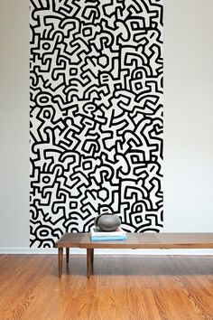 Keith Haring ~ Pattern Wall Tiles.. These self-adhesive fabric wall tiles are eco-friendly & non-toxic. Too cool!