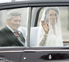 Kate Middleton next to her father, Michael, as they travel in a Rolls Royce to Westminster Abbey