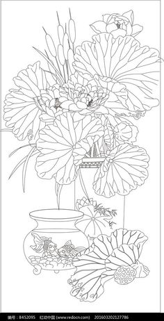Coloring Book Art, Colouring Pages, Adult Coloring Pages, Flower Line Drawings, Art Drawings, Korean Art, Asian Art, Floral Drawing, Silk Painting