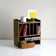 Wood Cubby Desk Organizer