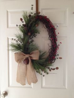 Simple country Christmas winter grapevine wreath  ms