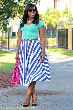 Work   Play  Striped Midi Skirt - Curves and Confidence 7c3b117eb9e